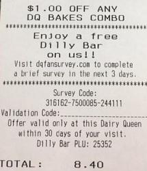 DQ Bakes receipt