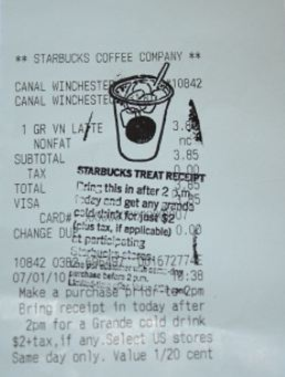 Starbucks bill