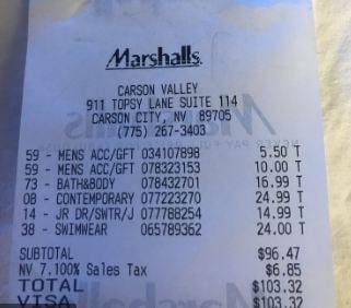 MarshallsFeedback receipt