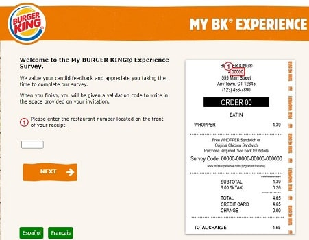 My BK Experience survey page
