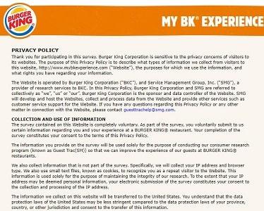 My BK Experience survey rules