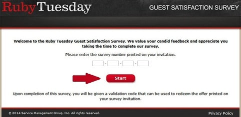 Tell Ruby Tuesday survey page