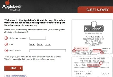 applebees survey page