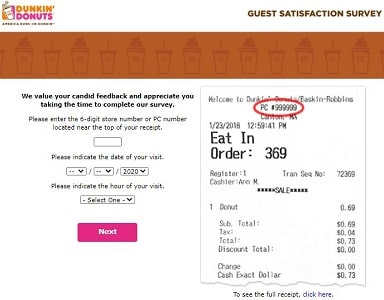 telldunkin without survey code